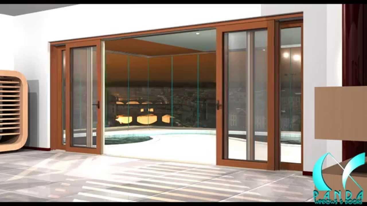 Panda aluminum wood clad multi slide door system for Multiple sliding glass doors