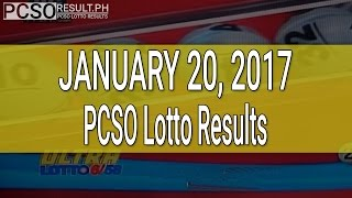 PCSO Lotto Results January 20, 2017 (6/58, 6/45, 4D, Swertres & EZ2)
