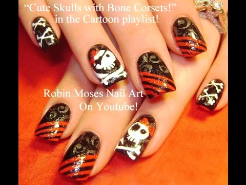Nail Art Diy Pirate Nails Cute Skull Nail Design Tutorial Youtube