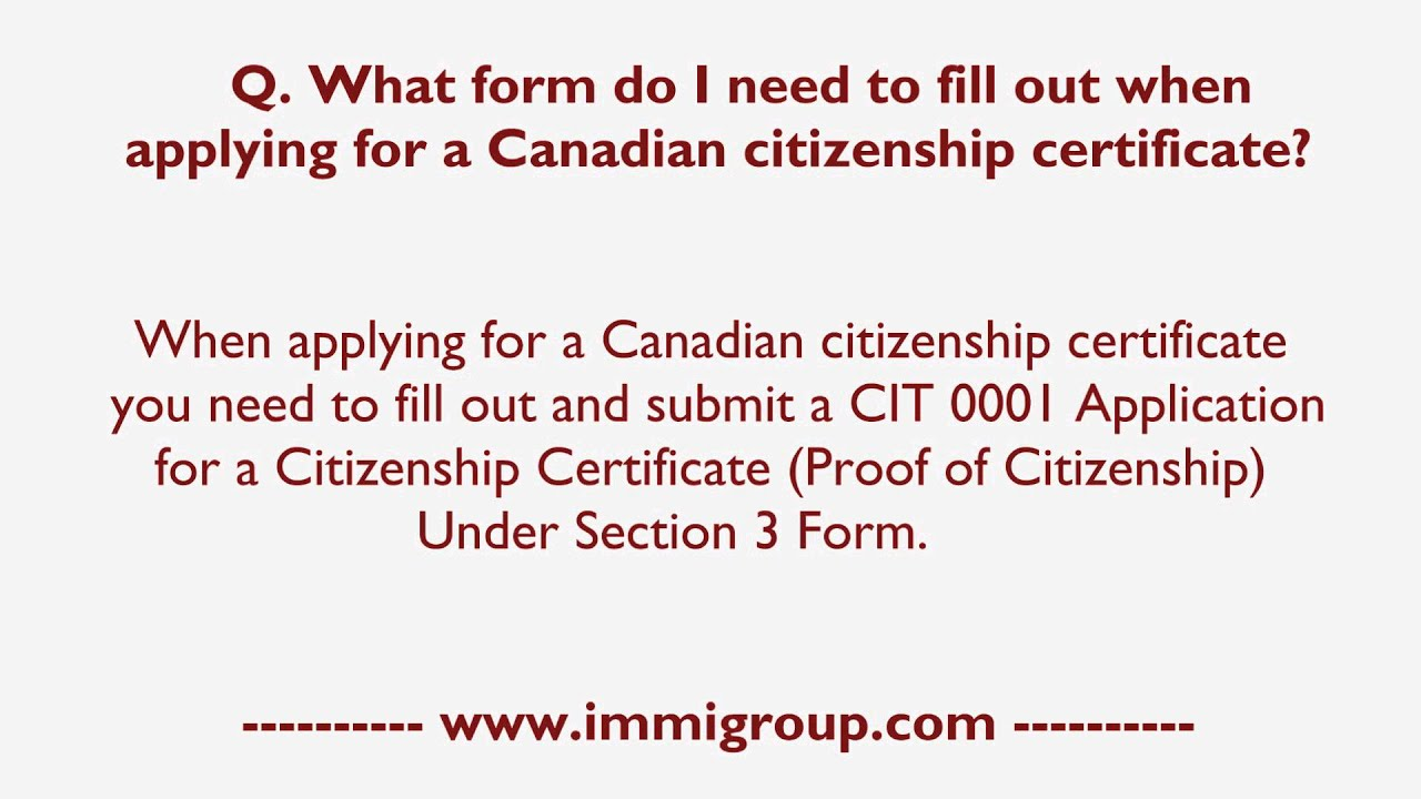 What form do I need to fill out when applying for a Canadian ...
