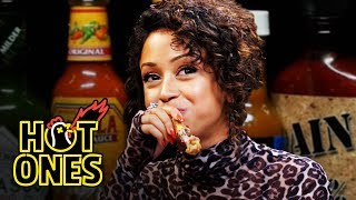 Download Liza Koshy Meets Her Future Self While Eating Spicy Wings | Hot Ones Mp3 and Videos