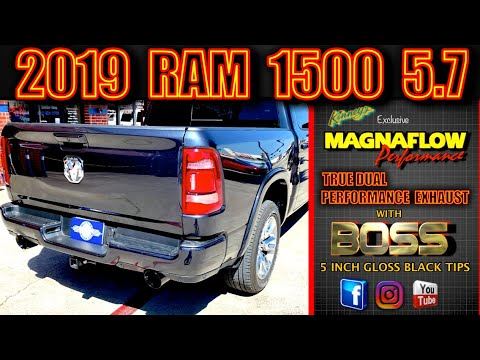 2019 ram 1500 magnaflow true dual performance exhaust 5 inch boss lacquer black tips by kinney s