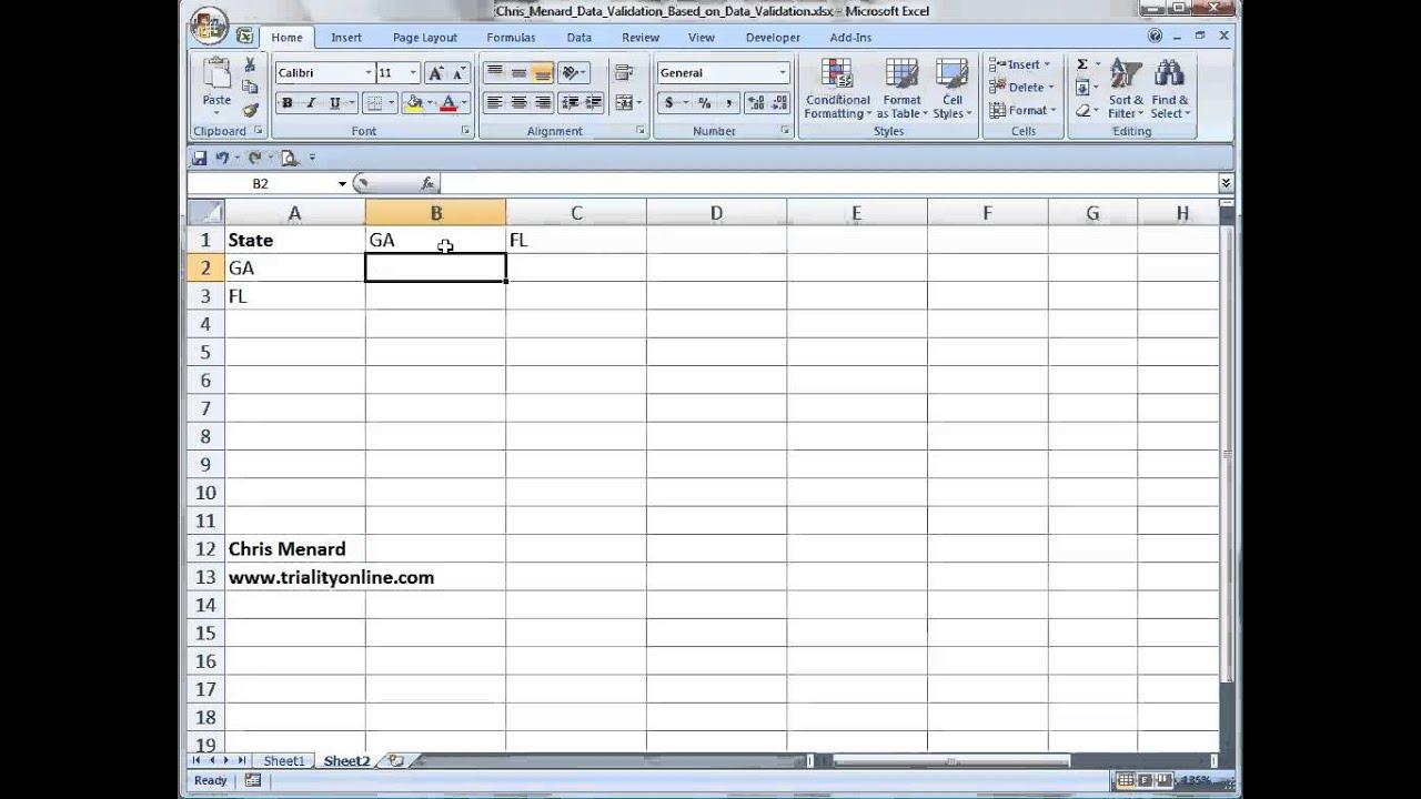 Excel data validation list based on another data validation list ...