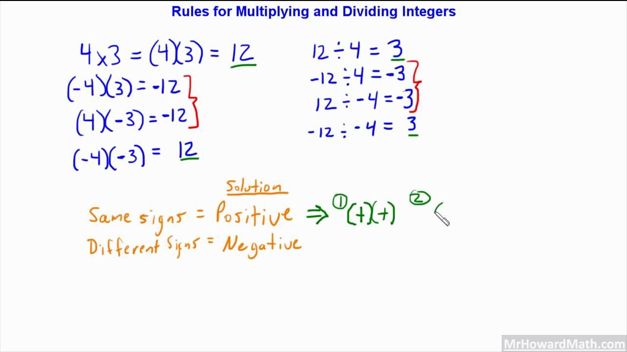 worksheet Dividing Integers rules for multiplying and dividing integers positive negative numbers 7gr16 hd