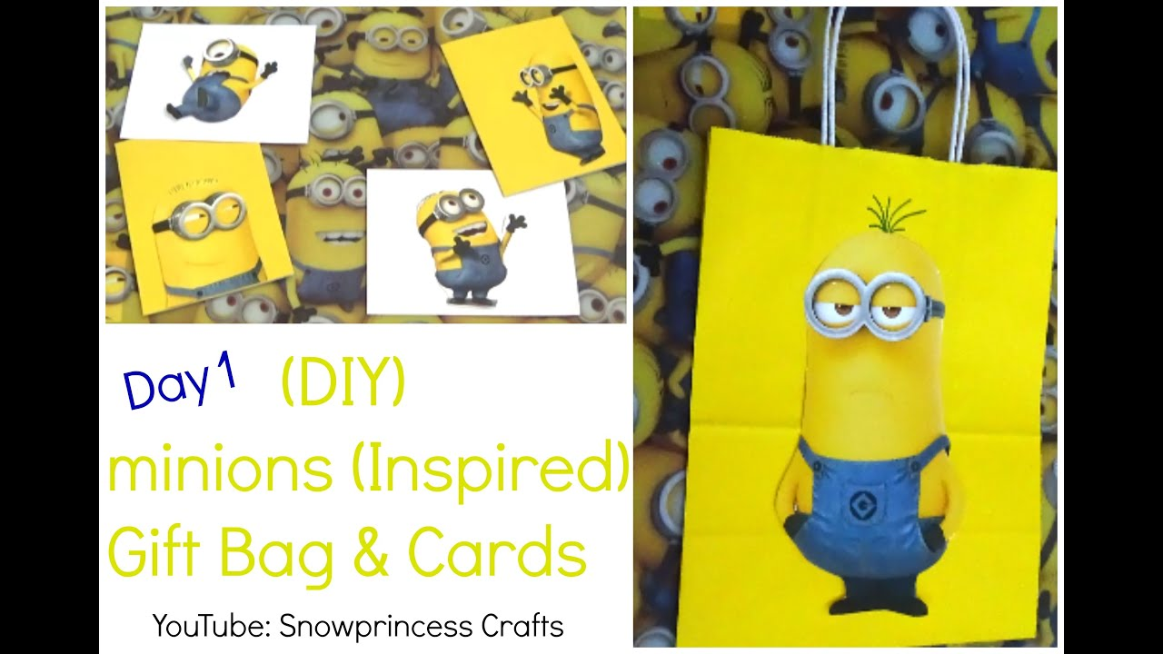 Awesome DIY Minions (Inspired) Gift Bag U0026 Cards   YouTube