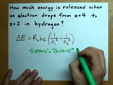 Energy Released: ΔE for electron in Hydrogen Atom - YouTube