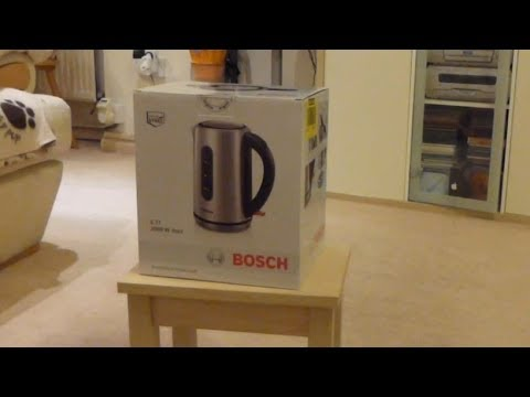 "Bosch ""City"" kettle TWK7901GB Stainless Steel - Unboxing / First use"