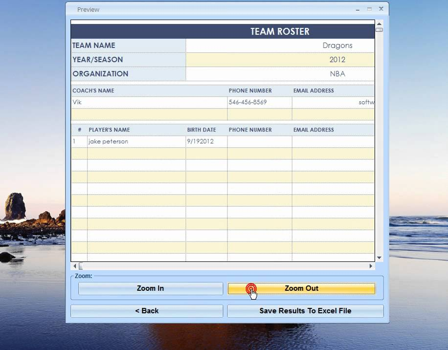 Excel Team Roster Template Software - YouTube