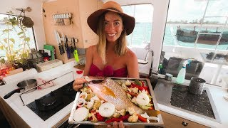 Catch And Cook: Spearfishing Yellow Tail Snapper 🐟 Oven Bake Onboard!