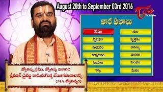 Vaara Phalalu    Aug 28th to Sep 03rd 2016   Weekly Predictions 2016 August 28th to September 03rd