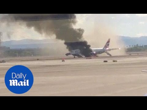 British Air plane fire captured on video in Las Vegas - Daily Mail