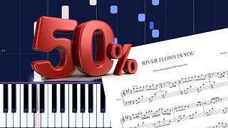 RIVER FLOWS IN YOU - Yiruma / Piano Tutorial [Synthesia 50% Speed]
