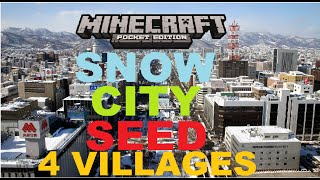 MCPE 1.0.0 - SNOW CITY SEED ! 4 VILLAGES 2 SNOW VILLAGES + 2 PLAIN + WITHER BOSS