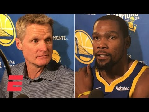 Steve Kerr and Kevin Durant react to Steph Curry's 48-point game against the Mavericks | NBA Sound