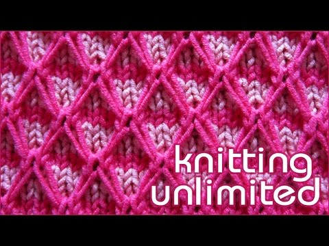 Quilt Stitch In Knitting : Two Color Diamond Quilting - YouTube