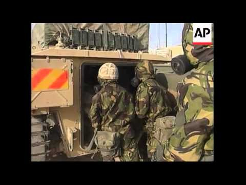 UK Troops Practise NBC Suit Drills