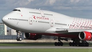 Rossiya Airlines Boeing 747-400 windy but smooth landing at St. Petersburg airport Pulkovo