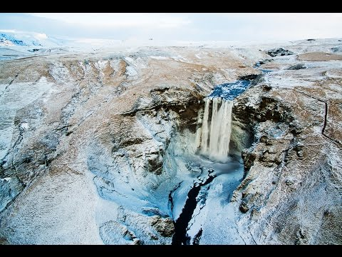 skogafoss in winter aerial view youtube. Black Bedroom Furniture Sets. Home Design Ideas