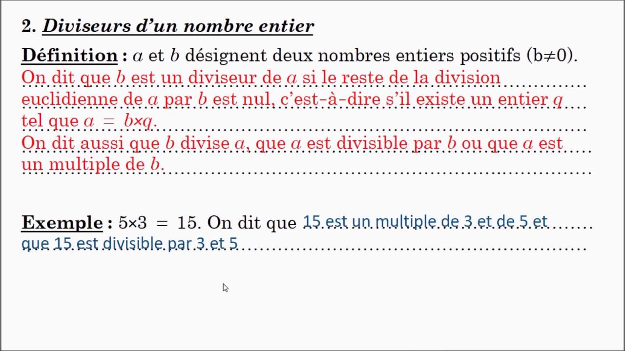 Nombres entiers et multiples 3ème Mathématiques