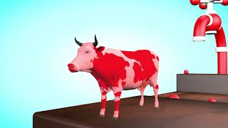 learn colors With Colors Cartoon Cow Tap Water  3D Colors For Children