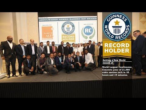 World's Largest Continuous Concrete Pour - Guinness World Records Title - BIN SHABIB GROUP