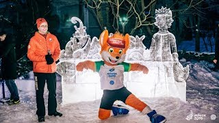 В Минске появилась ледяная скульптура, посвященная II Европейским Играм