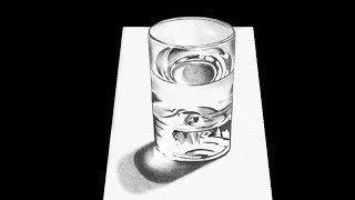 How to Draw a Glass of Water, Pencil Drawing by Speed Draw - 3D Drawing