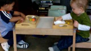 Montessori Observation: beginning tray work 1 1/2 years old