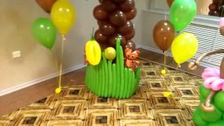 Пальма из шаров (бананы и кокосы) + обезьянка!