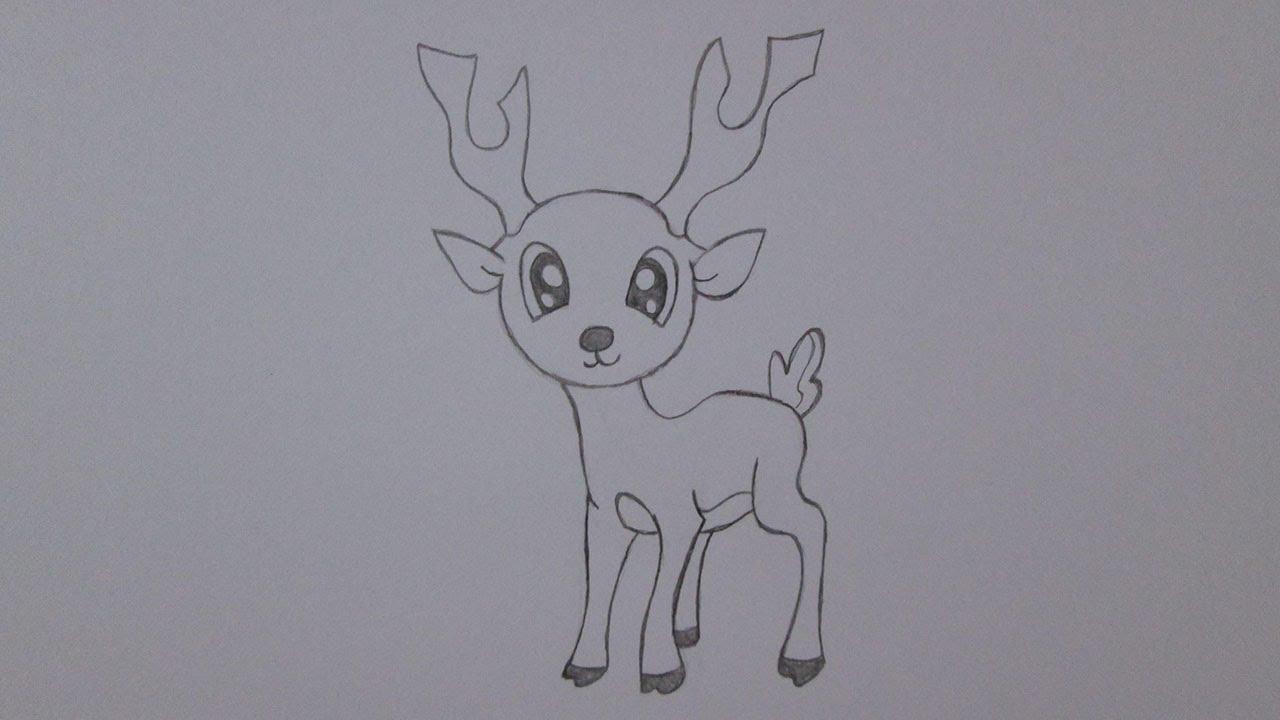 C mo dibujar un ciervo youtube - Dibujos de navidad faciles ...