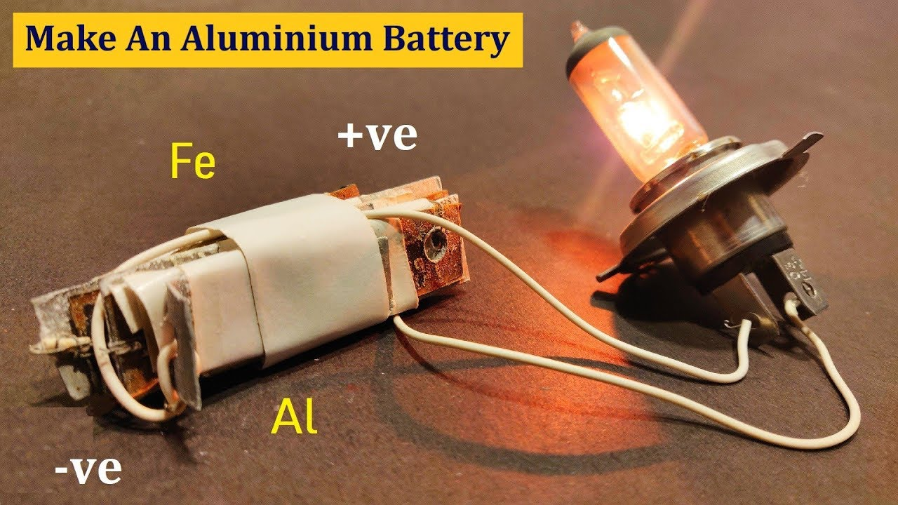 How to make 5 Volts 1 Amp Dry Battery - Homemade Battery with Aluminium &  Iron ( NaCl Battery cell )