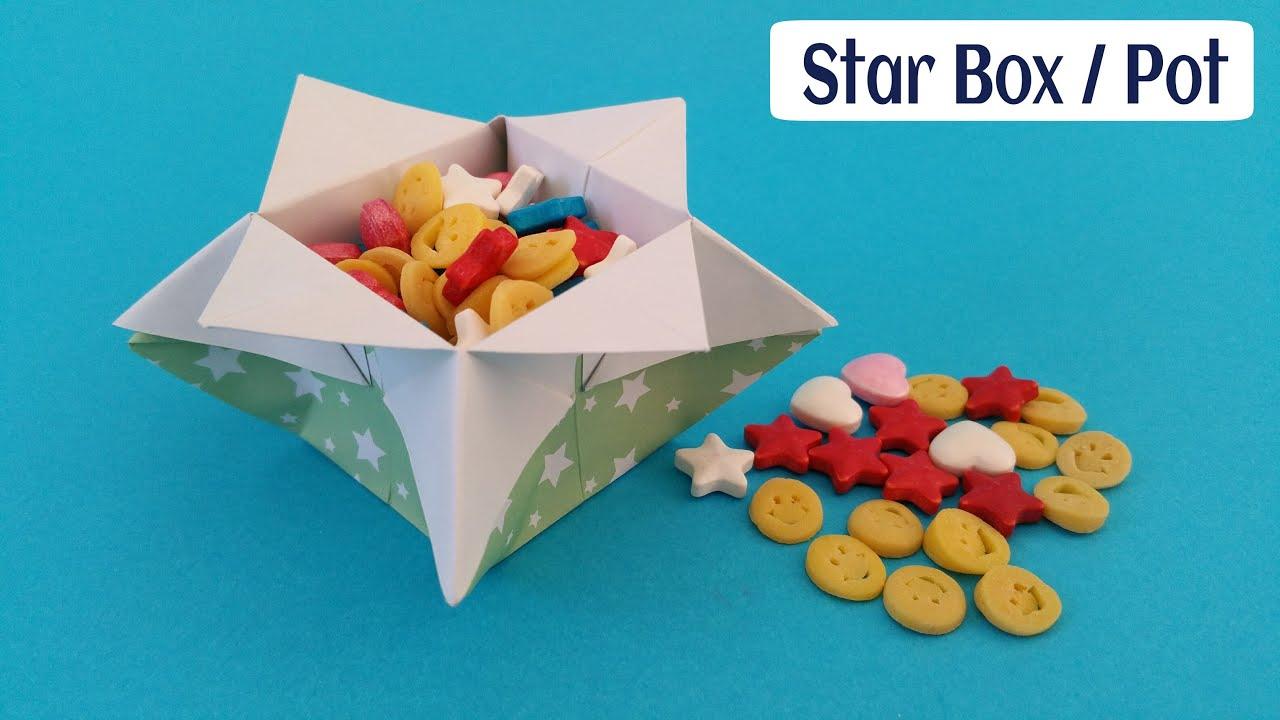 Star flower box pot diy origami tutorial by paper folds youtube mightylinksfo