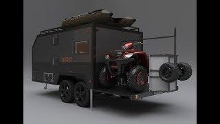 Жилой прицеп-фургон Анвир с откидной платформой для мототехники