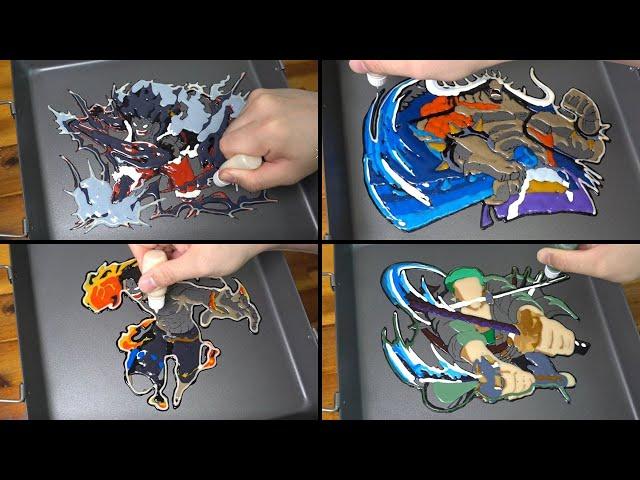 One Piece Pancake Art - Luffy gear 4 snakeman, Zoro, Kaido, Ace