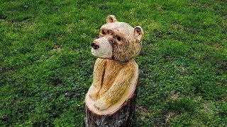 Chainsaw Carving a Bear Cub