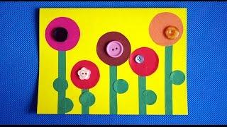 Цветы. Открытка на день рождения бабушке или маме. Аппликации из цветной бумаги.