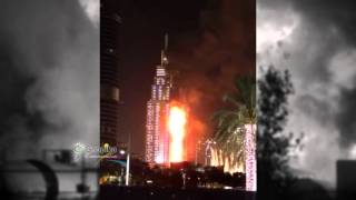 Fire at The Address, Downtown #Dubai 2016 | Massive Fire Burns Hotel In Dubai New Year's Eve 2016
