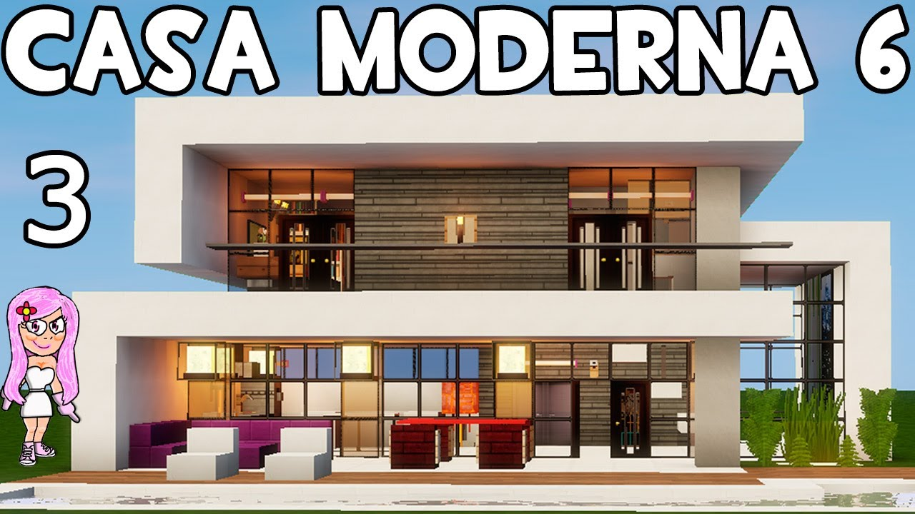 Casa moderna 6 en minecraft parte 3 c mo hacer y decorar for Casa moderna orari