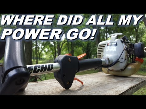 Echo Weedeater starts but has no power and runs bad. Clogged spark arrestor. Easy and simple fix.