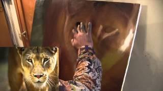 Курсы живописи для взрослых, научиться рисовать львицу, художник Сахаров