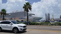 Driving in Galveston by the Port of Galveston Cruise Terminal 2018