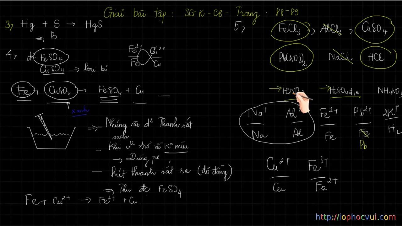 Hóa học 12- Đại cương về kim loại   Hướng dẫn giải bài tập Trang 88  89 SGK cơ bản- CỰC HAY VÀ KHÓ