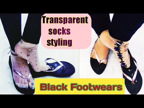 Transparent Socks Styling With Black Footwears // How To Style Transparent Socks With Footwears