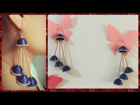 DIY || Multi Step Paper Quilled Jhumkas with Chain (Earrings) || by World of Artifact