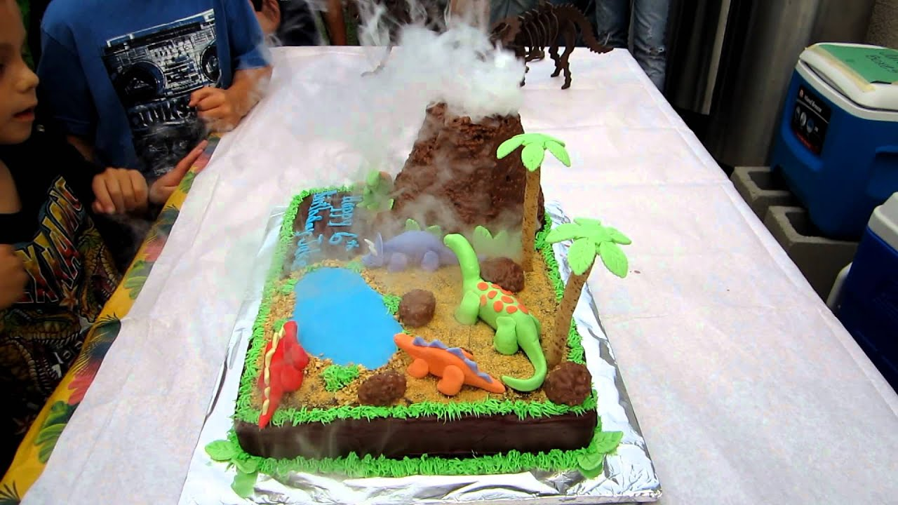 Awesome Erupting Volcano And Dinosaur Cake Youtube