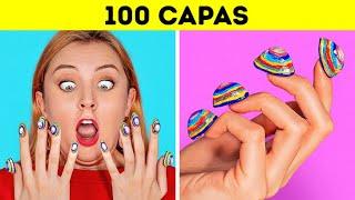 Cover images RETO DE LAS 100 CAPAS || 100 capas de maquillaje || ¡Más de 100 capas de cosas por 123GO!CHALLENGE!