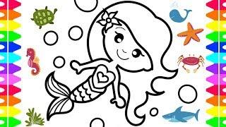 mermaid easy coloring draw children