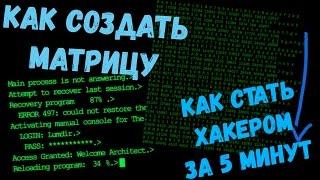Как стать хакером за 5 минут! Как создать матрицу на пк!|✔Flermn✔