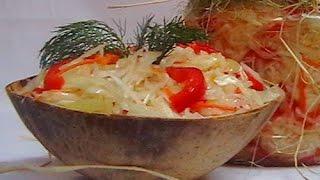 Салат из капусты с чесноком. Маринованная капуста.