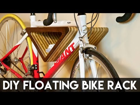 DIY Floating Wall-Mounted Bike Rack   How To Build - Woodworking